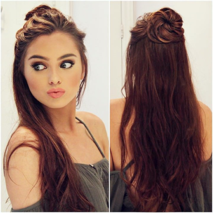 Messy top knot Trending hairdo