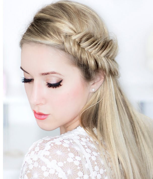 prom night with side braid beautiful