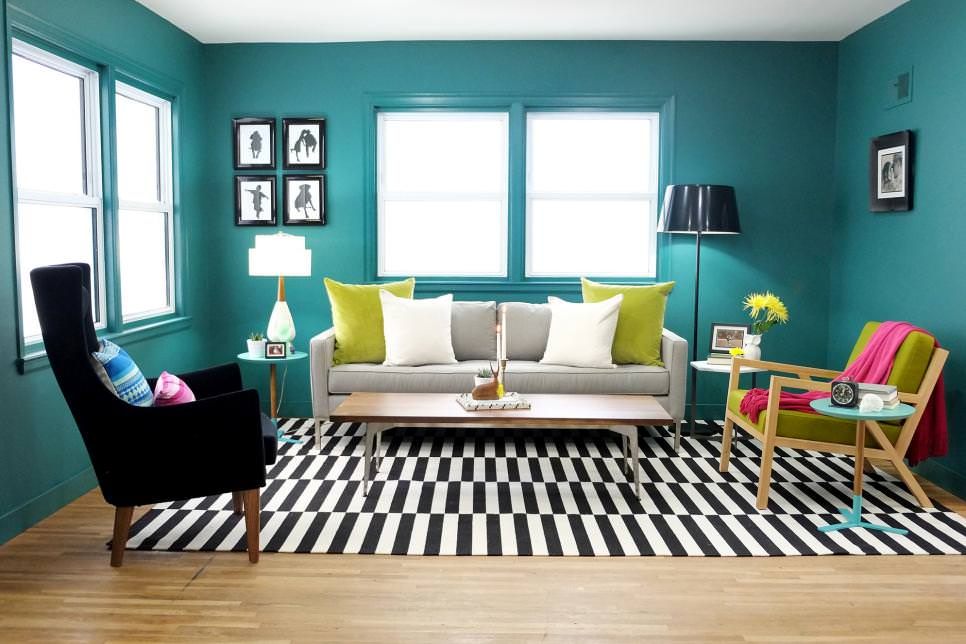 Teal Living Room With Black and White Rug