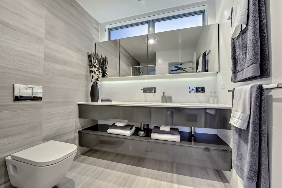 Beau Modish Grey Bathroom Design