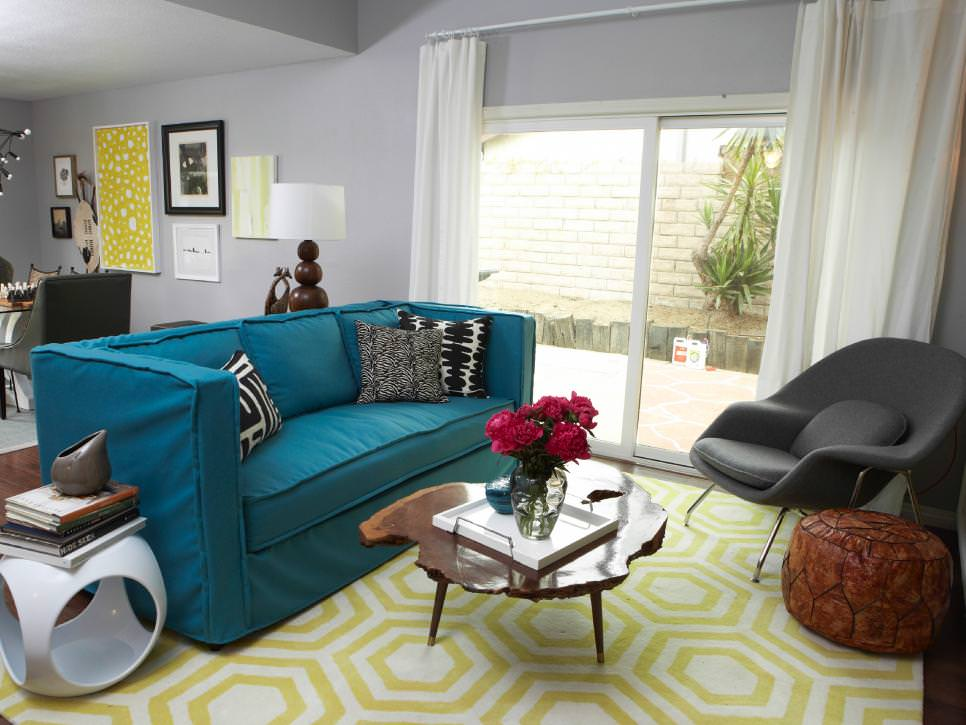 Orange teal grey living room modern house for Teal blue living room ideas