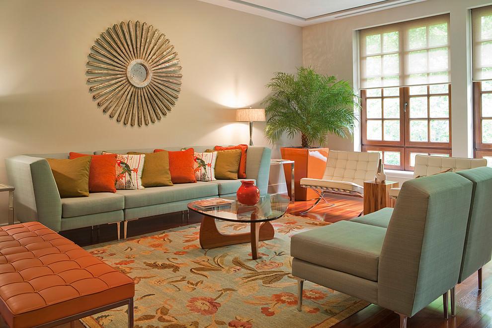 teal orange living room