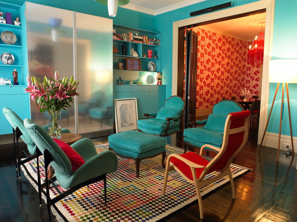 Beautiful Teal Eclectic Living Room