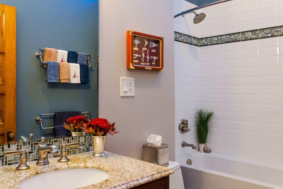Modest Blue Bathroom Design