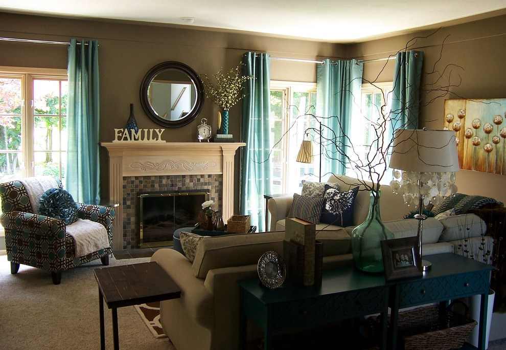 Contemporary Living Room With Teal Curtains