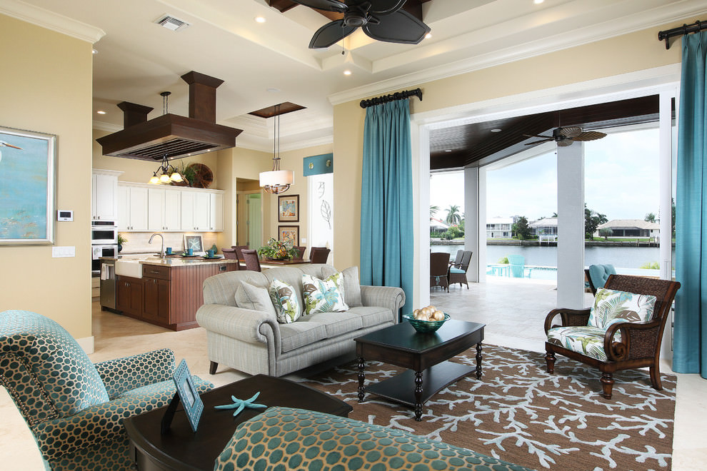 Beach Style Living Room With Teal Interior