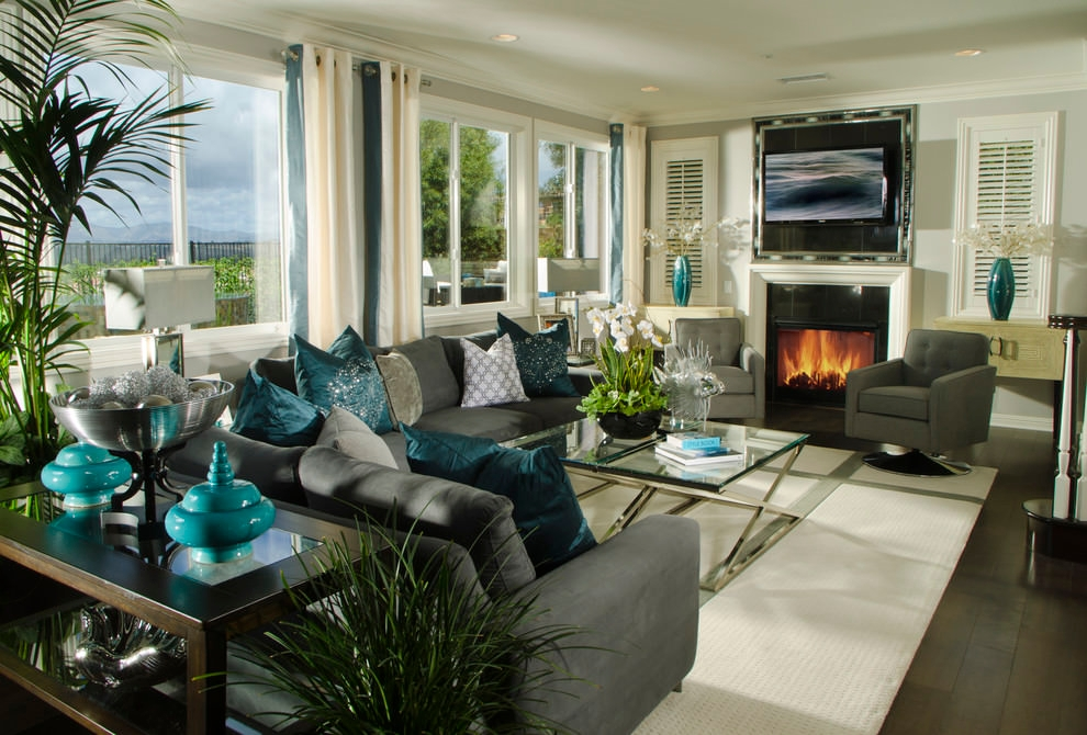 Nice Dazzling Teal Living Room