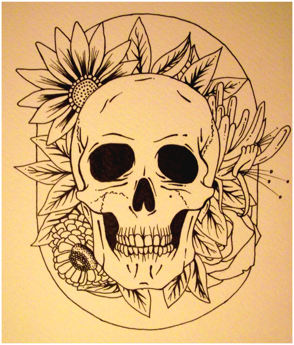 Skull and Flower Drawing