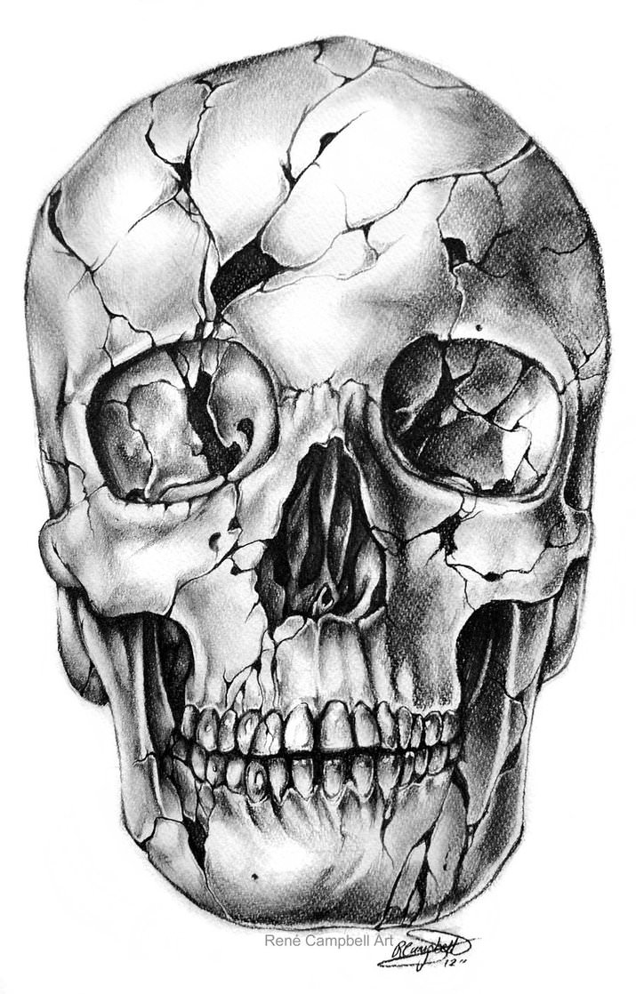 Broken Skull Drawing
