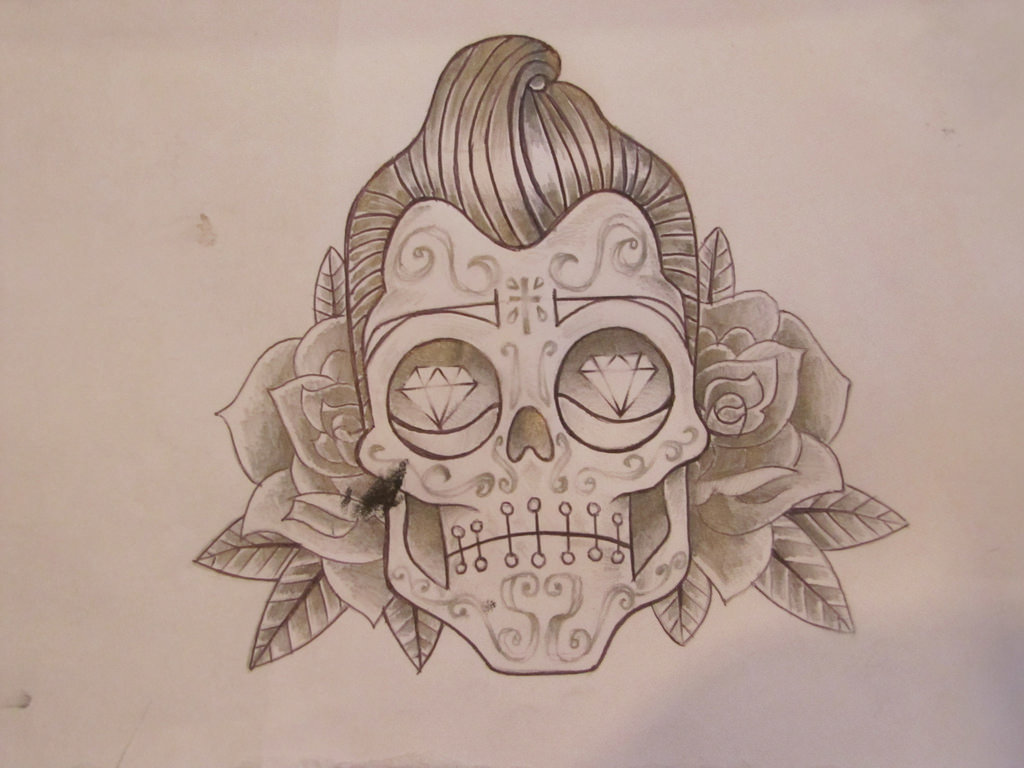 Elvis Sugar Skull Drawing