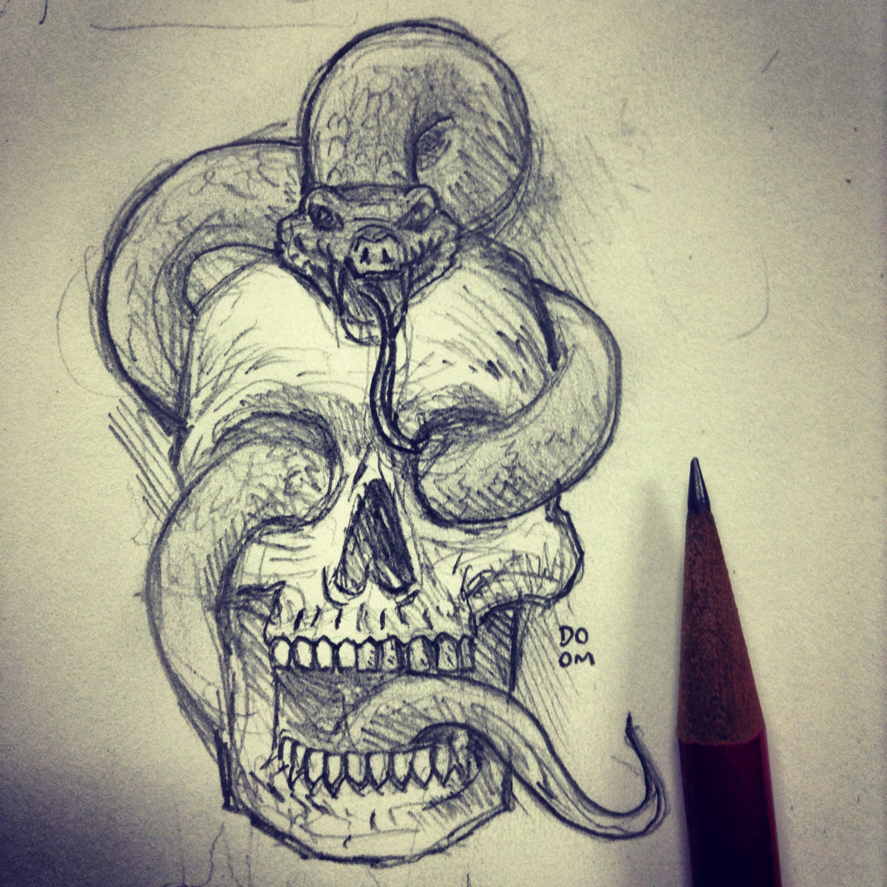 Pics For > Drawing Of Skulls And Snakes