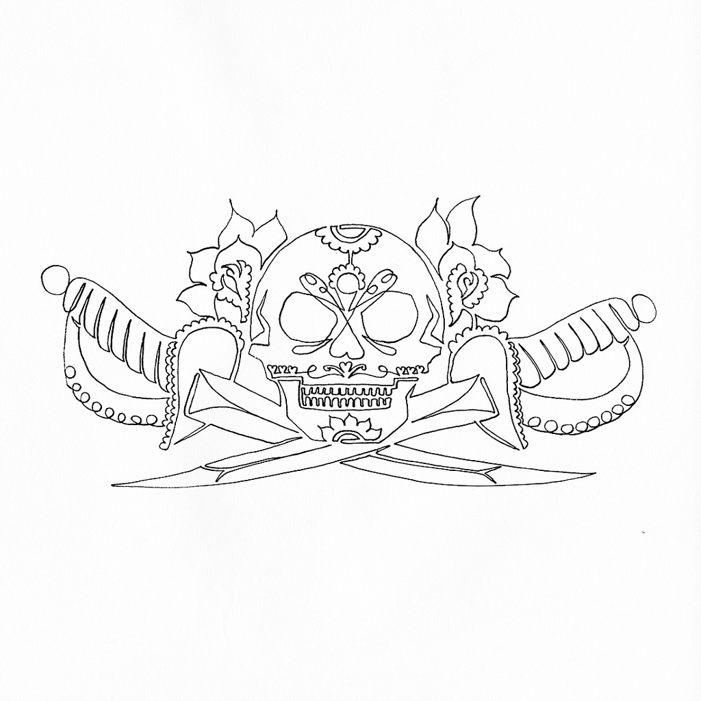 Single Line Drawn Skull