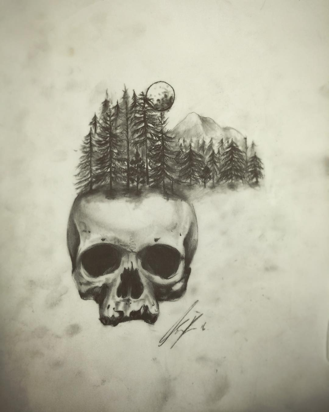 Forest Skull Drawing