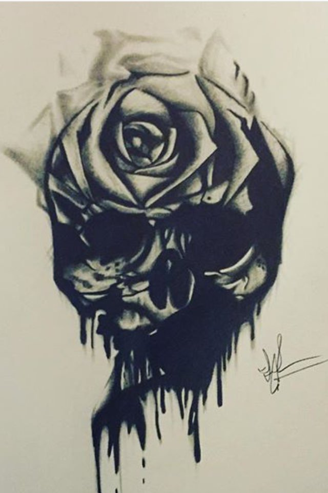 Dark Skull with Rose