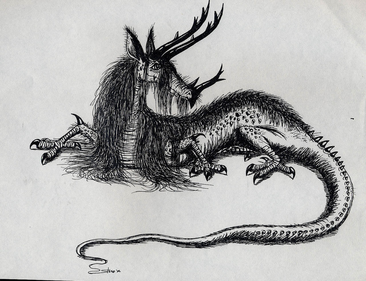 Dragon Drawing with Hair