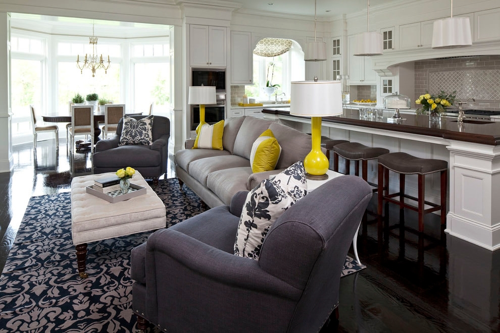 gray and whhite small formal living room