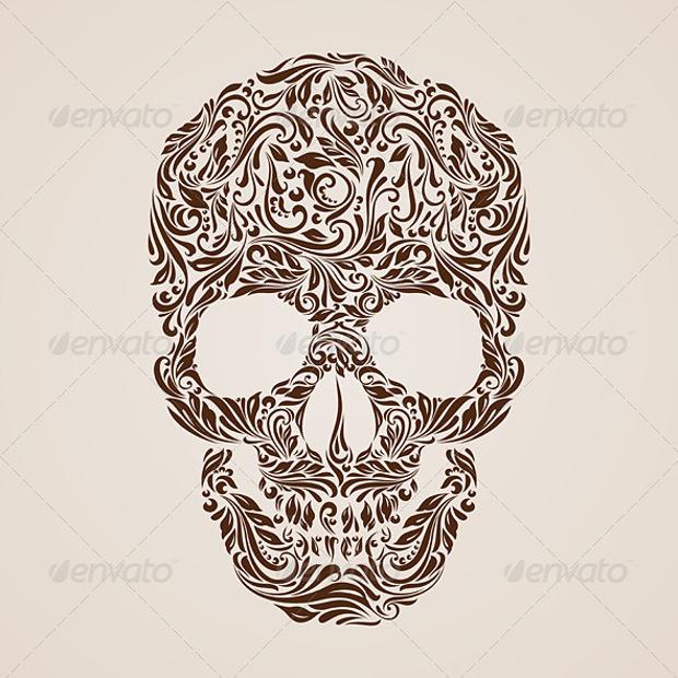 floral print skull print