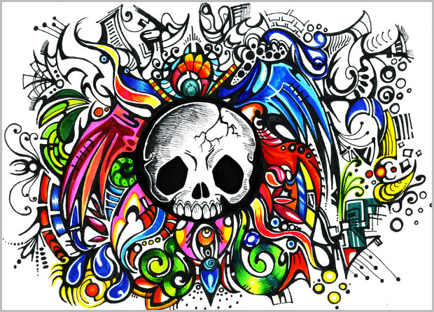colorful skull pattern