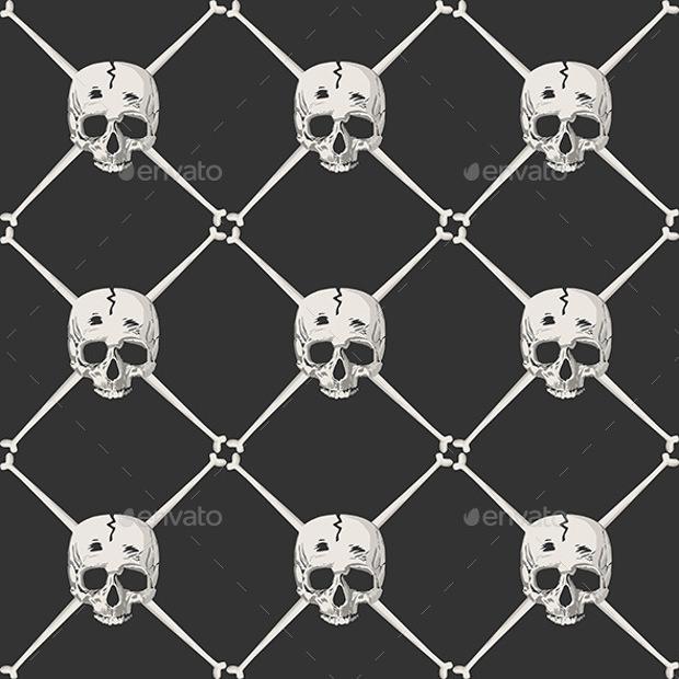 white skulls on black background