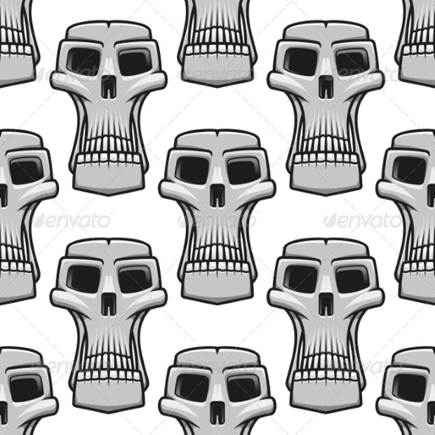 Funny Skull's Pattern on White Background