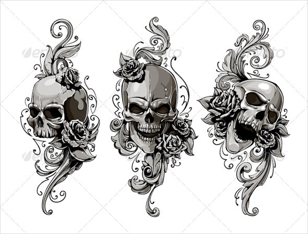 skull with floral pattern