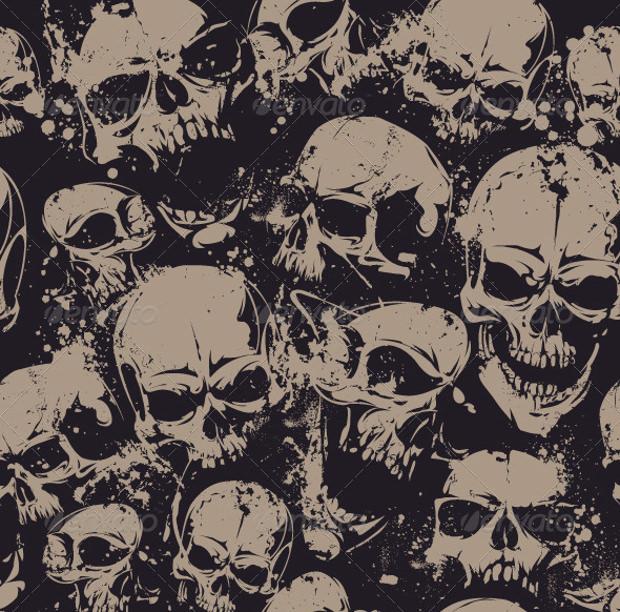 seamless pattern with grunge skulls