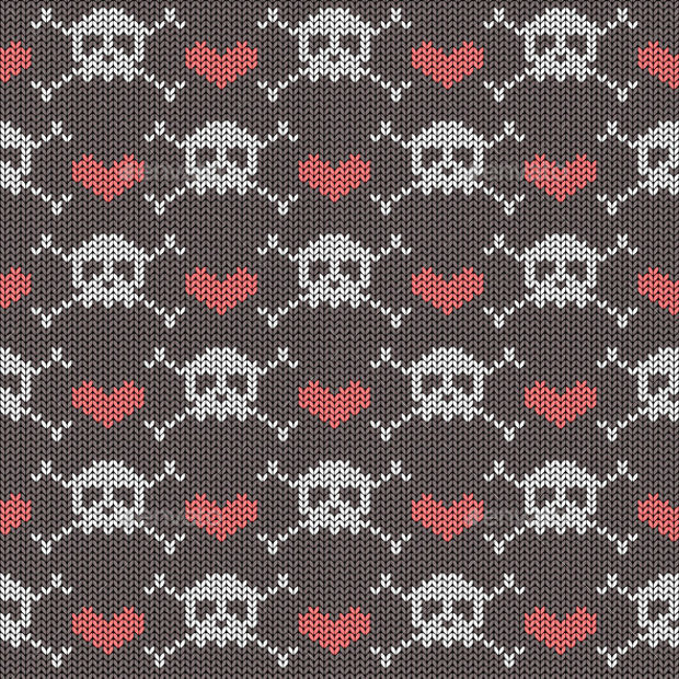knitted seamless pattern with skulls