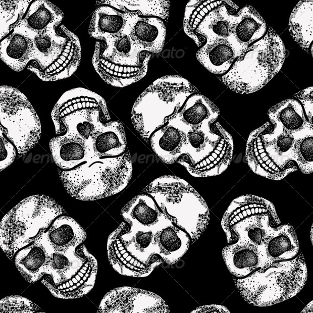 monochrome pattern with skulls