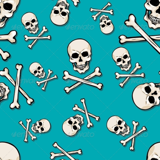 Seamless Pattern with Skulls and Bones