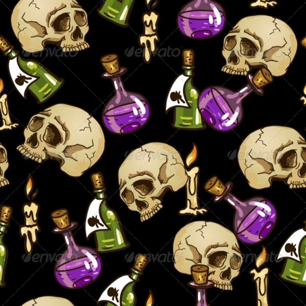 Doodle Pattern with Flasks and Skulls