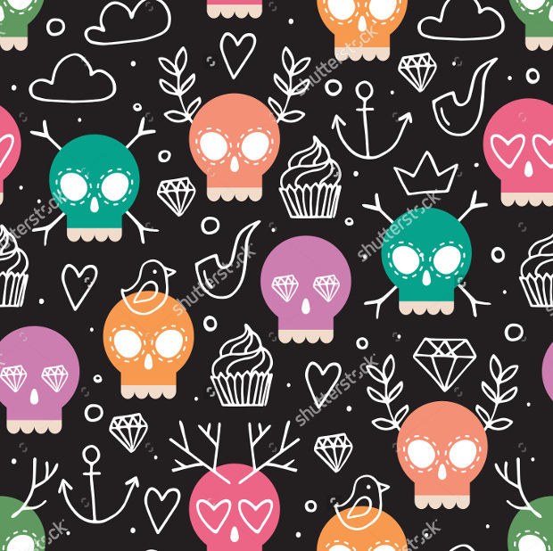 Colorful Vector Skull Pattern