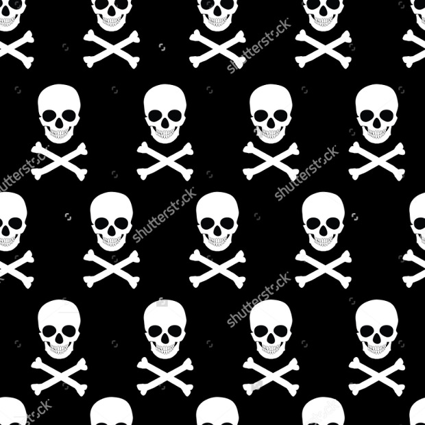 Vector illustration seamless pattern white skull