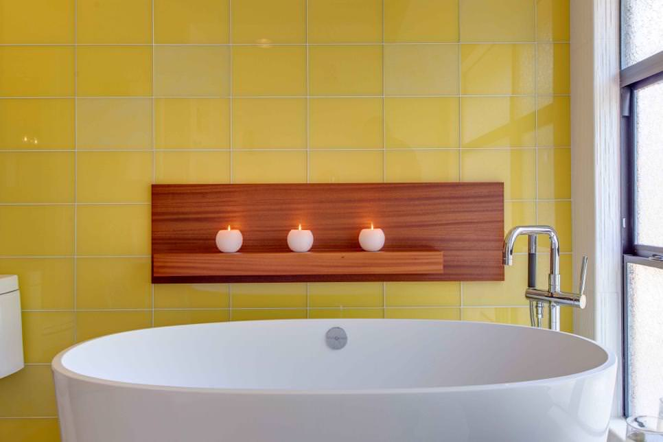 yellow bathroom tiles design
