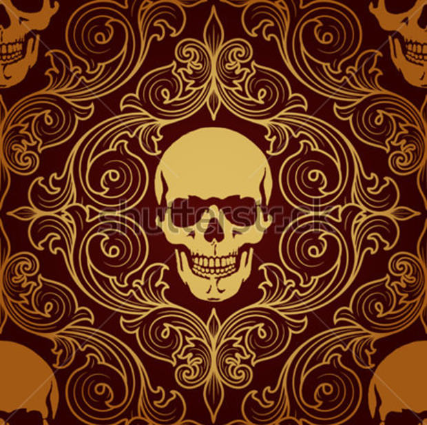 Brown Pattern with Skull