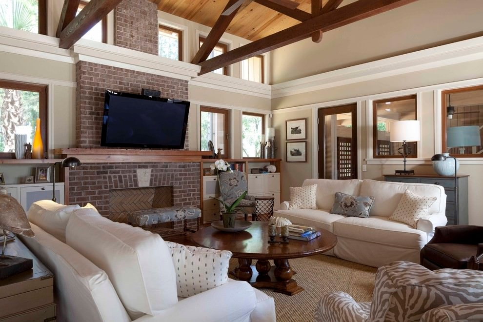 pottery barn living room with wooden roof