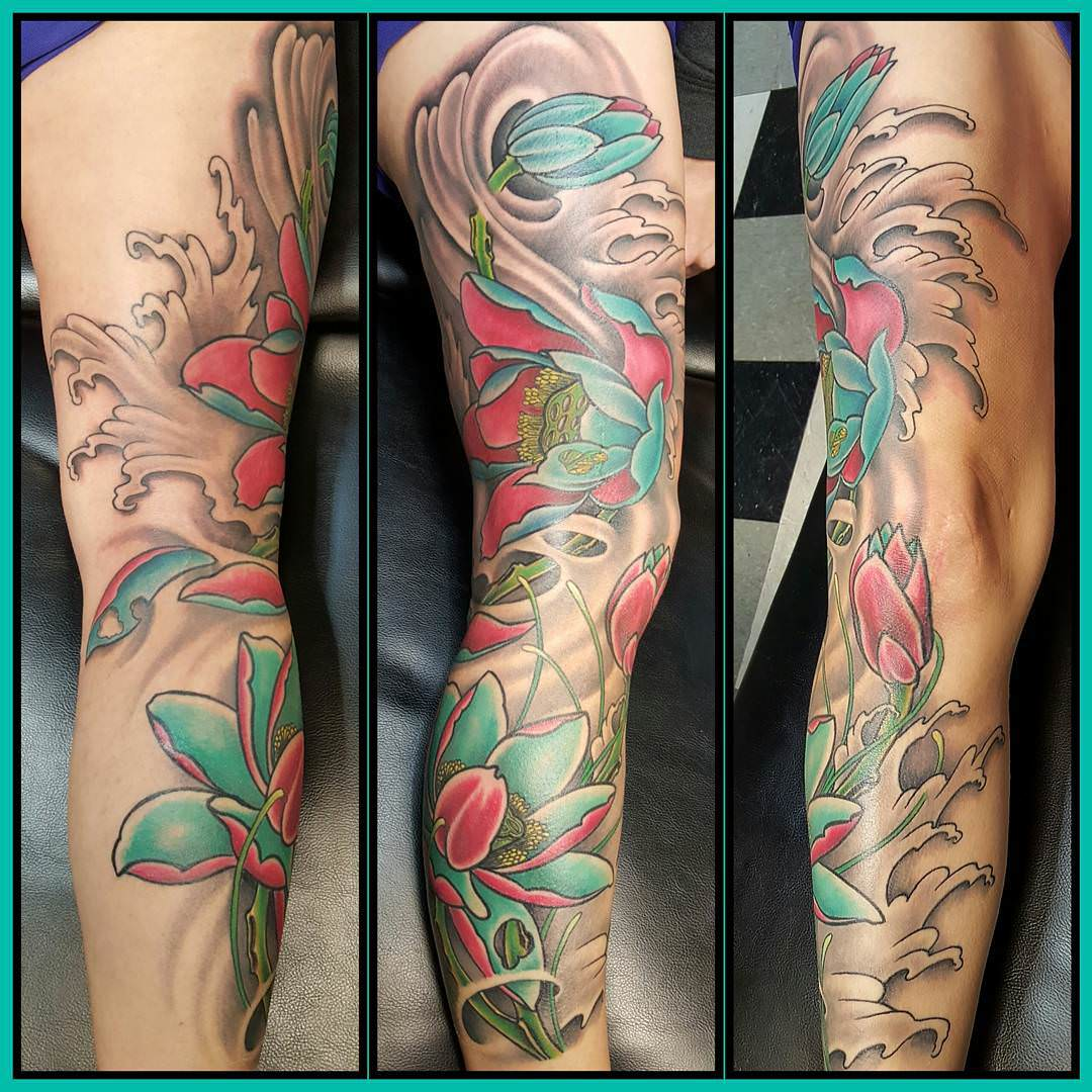 Beautiful Leg Sleeve Tattoo