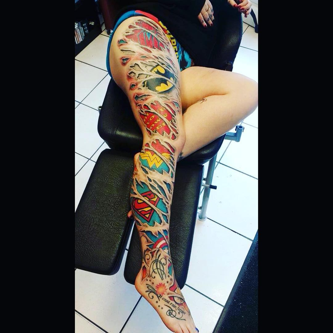 Red Leg Sleeve Tattoo