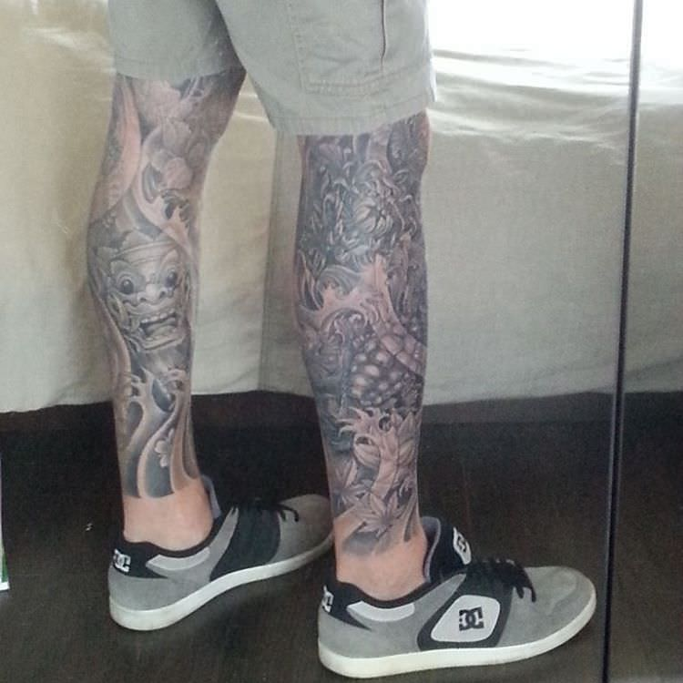 Natural Leg Sleeve Tattoo