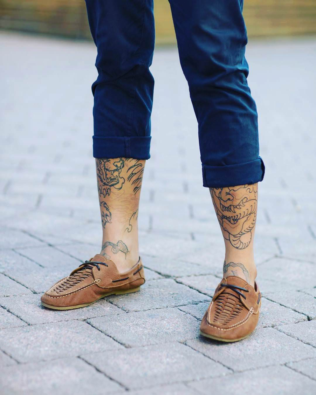 Lines Leg Sleeve Tattoo