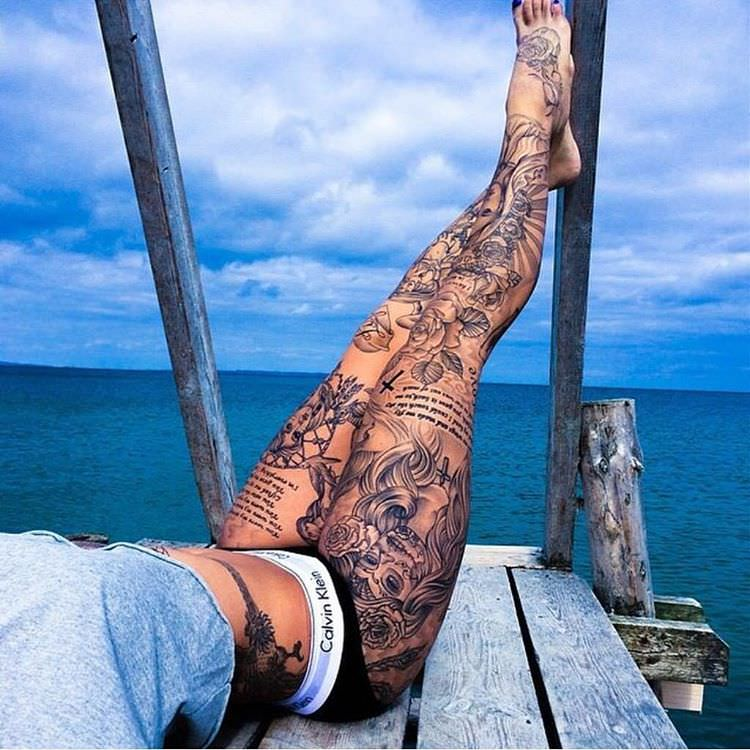 Trendy Look Leg Sleeve Tattoo