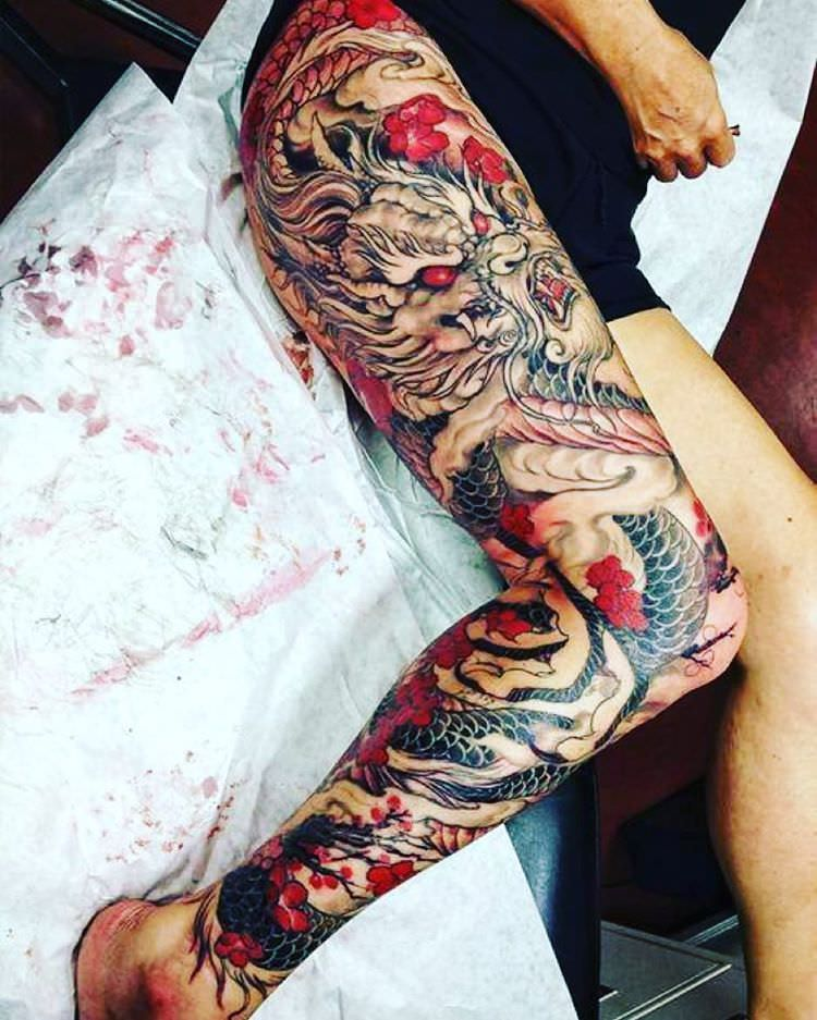Red & Black Leg Sleeve Tattoo