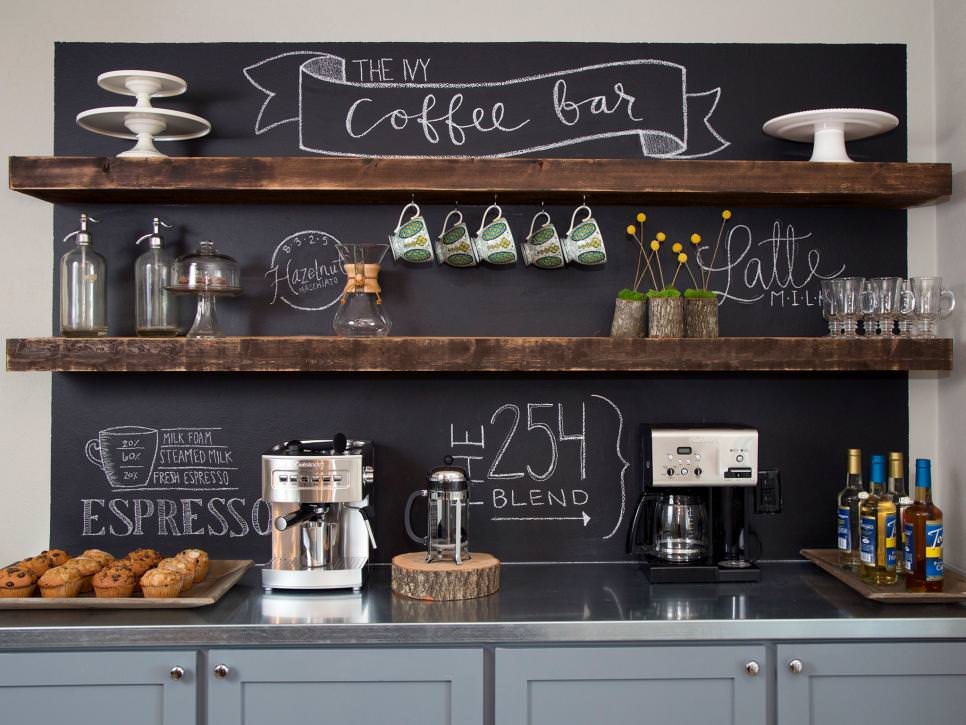 Home Coffee Bar With Rustic shelves