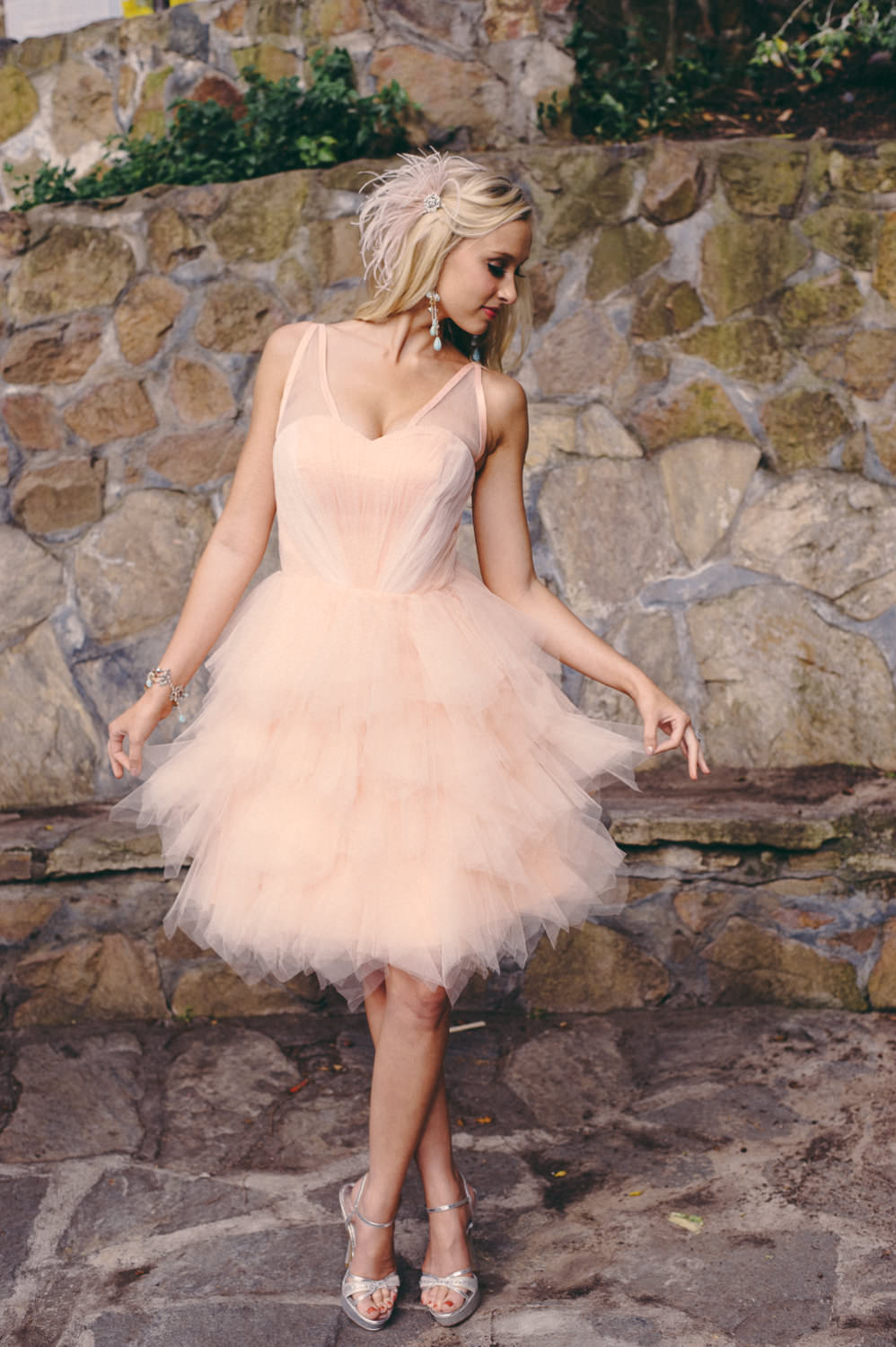 Stylish Pink Short Wedding Dress