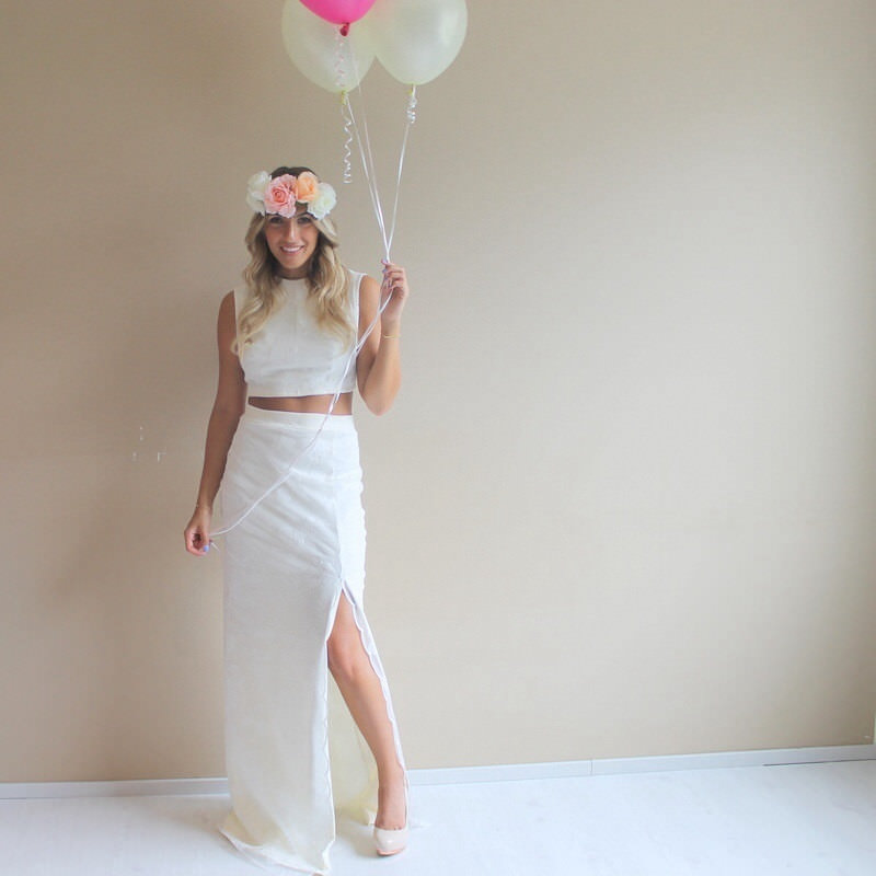 crop down short wedding dress