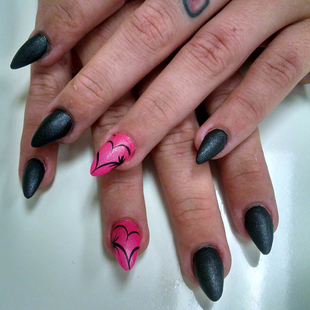 Pink And Black Nail Design - Black And Pink Nail Designs Design Trends - Premium PSD, Vector