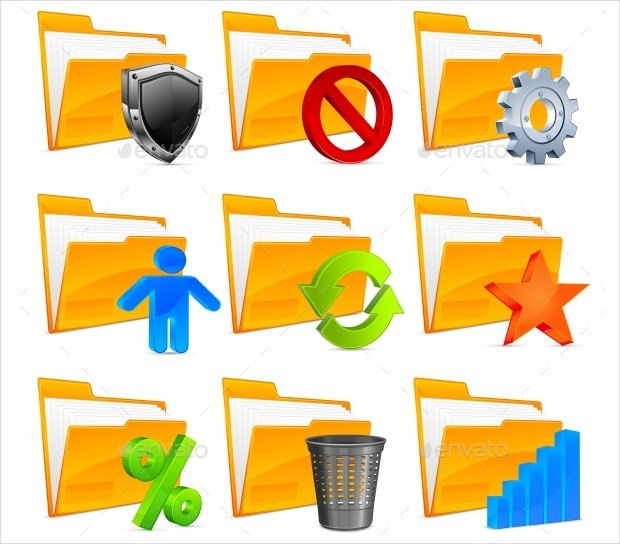 Nine Folder Icons with Symbols