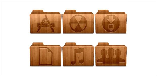 40 Wood Folders Icons