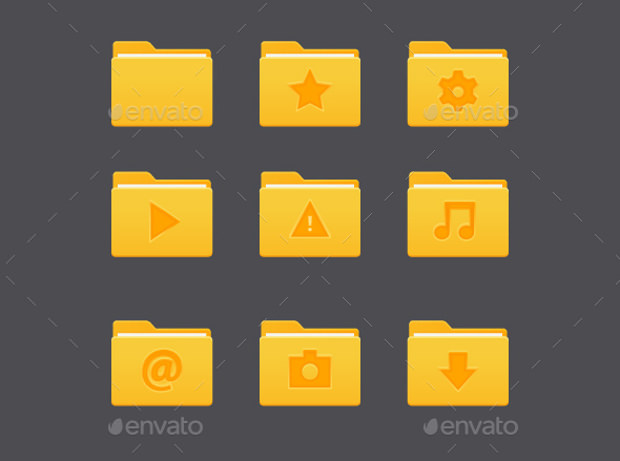 Yellow Colour Folder Icons