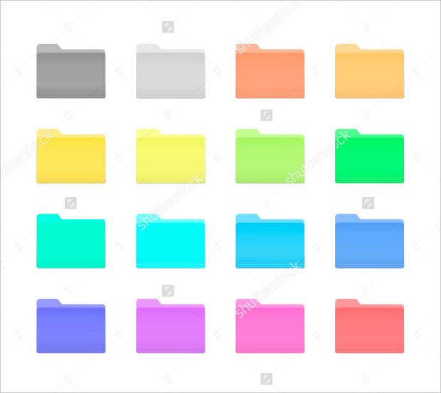 Colorful Bright Folder Icons Set