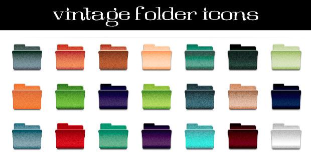 Vintage Folder Icon Set